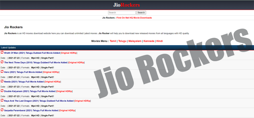 Jio Rockers 2021- Website to Download Illegal HD Movies Online